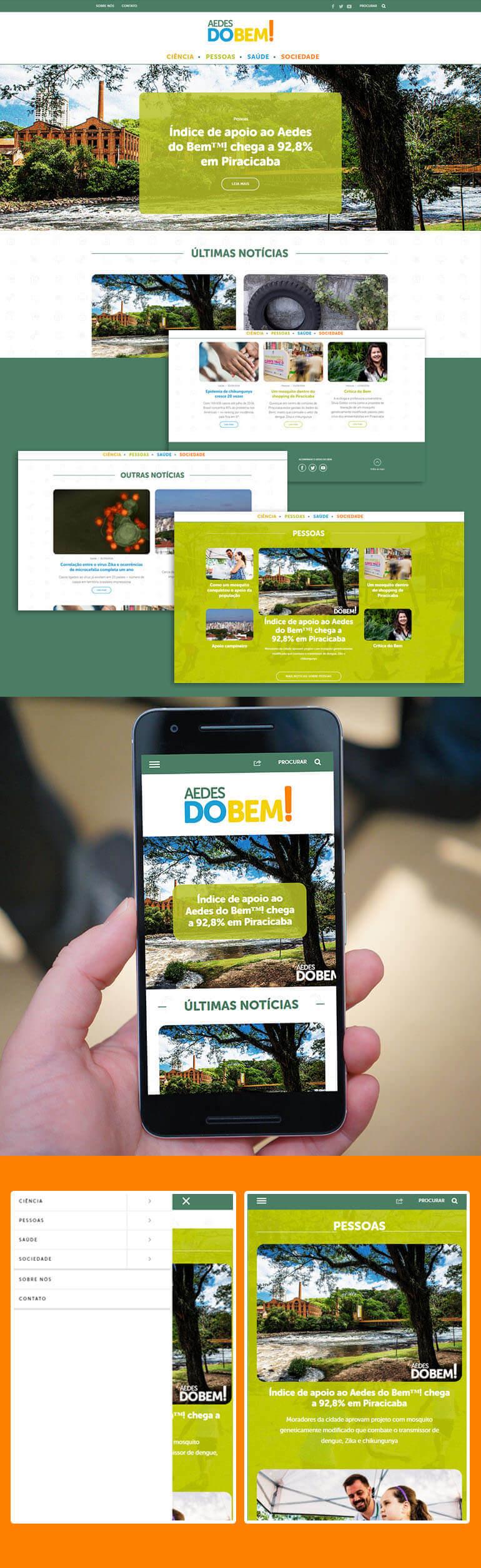 Página inicial do Aedes do Bem e versão responsiva para celulares