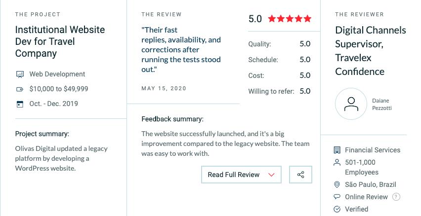 Olivas Digital review on Clutch