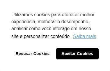 Aviso de cookies para LGPD